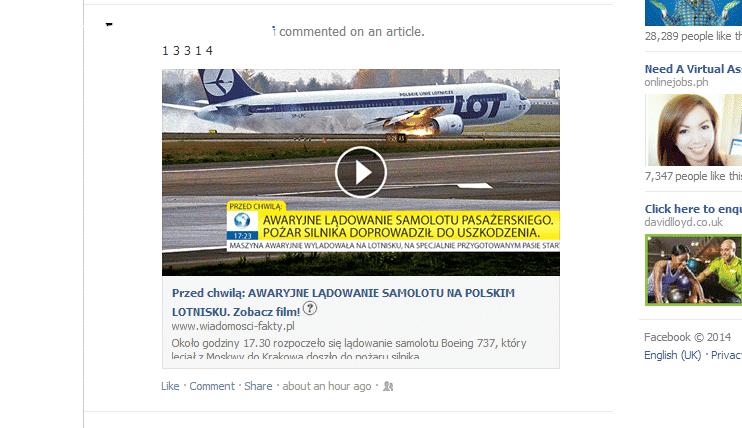 Awaryjne Lądowanie Samolotu Spam Na Facebook Trojan w Pakiecie