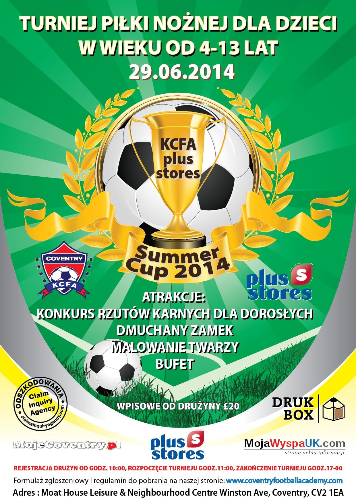 Turniej piłki nożnej dla dzieci w Coventry KCFA Plus Stores