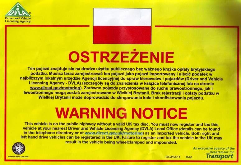 zabrano polskie auto w uk
